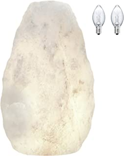 Himalayan Glow Hand Crafted Naked White Salt Crystal Lamp,Natural Salt Night Light,Salt Lamp with (ETL Certified) Dimmer Switch,Salt Lamp Bulb   3-5 LBS (2 Extra Bulbs)