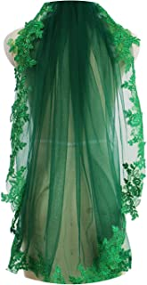 Green Lace Short Wedding Veil Beautiful One Layer Bridal Veil with Comb Muslim Arabic Voile de Mariee