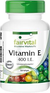 Vitamina E 400 U.I. - Dosis elevada - 500 Cápsulas blandas - Formato familiar - Calidad Alemana