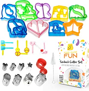 30pc Sandwich Cutters for Kids by FoodMadeFun - Complete Set of Bento Accessories - Fun Food Cutters for Kids with Vegetable and Fruit Cookie Cutters to Encourage Picky Eaters - BONUS Cleaning Tool
