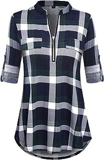 Women's 3/4 Sleeve Zipper V Neck Shirts Casual Blouses Tunic Tops