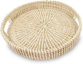 Ann Lee Design Round Serving Seagrass Trays (White with Recessed Open Handle)