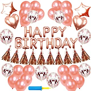 NORTHERN BROTHERS Birthday Decorations - Birthday Party Supplies Party Decorations Balloons Rose Gold Happy Birthday Banner Confetti Balloons