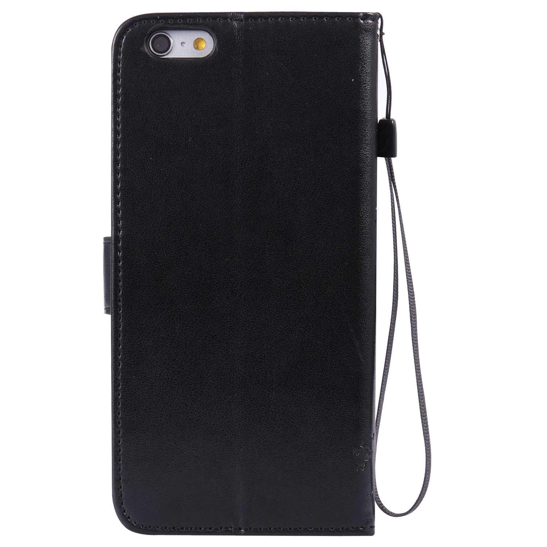 iPhone 6 Plus / 6s Plus ケース Conber PUレザー 手帳型 軽量 超薄型 耐衝撃 財布型 カバー Apple iPhone 6 Plus/6s Plus 用 スタンド機能 カード収納 全面保護 猫と木 ケース - ブラック