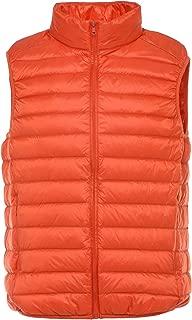 Men's Active Band Collar Full Zip Quilted Packable Down Vest Jacket Waistcoat