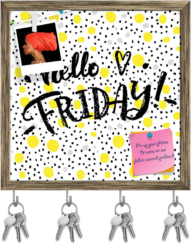 Artzfolio Hello Friday Key Holder Hooks   Notice Pin Board   Antique golden Frame 20 X 20Inch