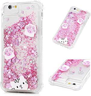 Mavis's Diary iPhone 6S Case, iPhone 6 Case Bling Glitter Sparkle Flowing Liquid Quicksand Moving Sequins Painted Unicorn Flower Protective Hard PC Back Cover with Soft TPU Rubber Frame - Cat's paw