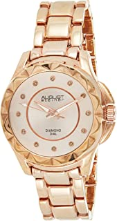 August Steiner Women's Funky Bezel Fashion Watch - Multi Textured Sunburst and Matte Diamond Dial on Stainless Steel Brace...