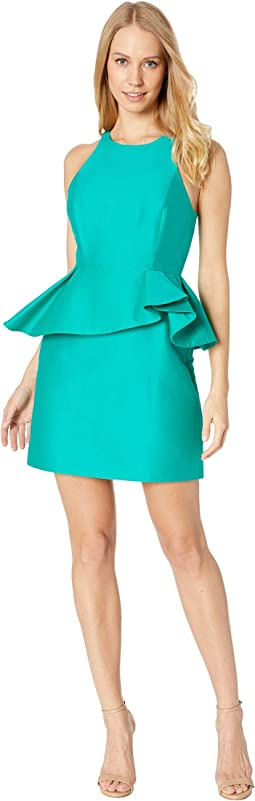 Sleeveless High Neck Fitted Peplum Dress