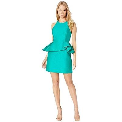 Halston Heritage Sleeveless High Neck Fitted Peplum Dress (Emerald) Women