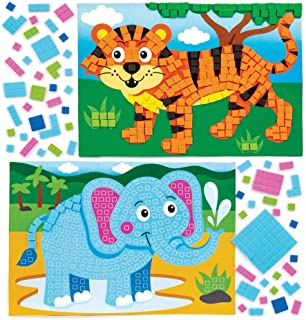 Baker Ross Kits d'illustrations animaux de la jungle en mosaïque (lot de 4) - Mosaïque autocollante pour enfants.