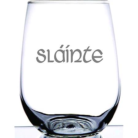 Amazon Com Ie Laserware Irish Celtic Gaelic Slainte Irish Toast Laser Etched Engraved Wine Glass 15 Ounce Stemless Wine Glass Unique Gift Scottish Outlander Highlander Fans Wine Glasses