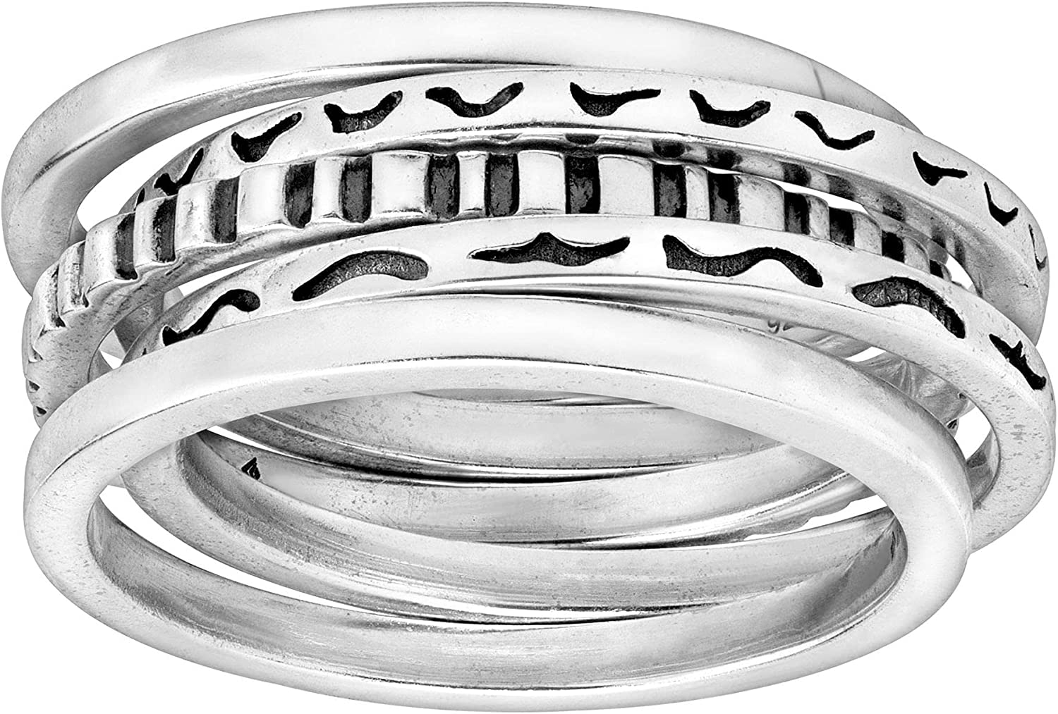 Super Max 74% OFF intense SALE Silpada 'Antilles' Set of Five Rings Sterling in Silver Stacking