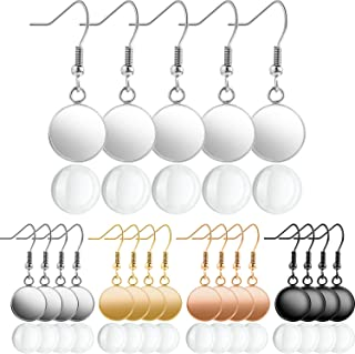40 Pieces 11.5mm Glass Cabochons Earrings and 40 Pieces Earring Wire Hooks 12mm Round Post Cup Tray Earring for DIY Jewelry Making (Mixed Colors)