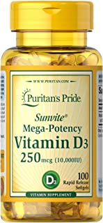 Puritan's Pride Vitamin D3 10,000 IU Bolsters Immune Health by of Immune System Support and Healthy Bones and Teeth Softge...
