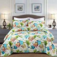 Fish Pattern Patchwork Bedspread with 2 Pillowcase Cotton Bed Cover Blanket Quilted Quilt, 230×250 cm, Queen