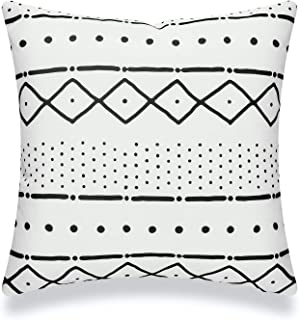 "Hofdeco Mudcloth Inspired Patio Indoor Outdoor Pillow Cover ONLY for Backyard, Couch, Sofa, White Black Lines Dashes, 18""x18"""