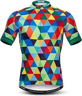 Men's Cycling Jersey Short Sleeve Bike Clothing Multicolored Diamond
