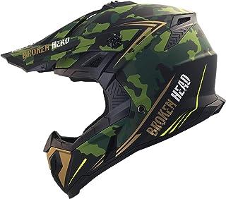 Broken Head Squadron Rebelution - Motorrad-Helm Für MX, Motocross, Sumo und Quad - Camouflage Grün-Gold - Größe M 57-58 cm