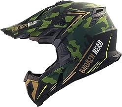 Broken Head Squadron Rebelution - Motorrad-Helm Für MX, Motocross, Sumo und Quad - Camouflage Grün-Gold - Größe L 59-60 cm