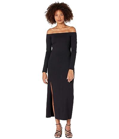 Susana Monaco Long Sleeve Off Shoulder Slit Midi Dress (Black) Women