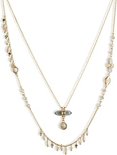 Lucky Brand Wrapped Stone Beaded Layer Necklace, Gold