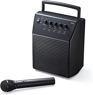 サンワダイレクト ワイヤレスマイク スピーカーセット 拡声器 アンプ内蔵スピーカー 会議 イベント 対応 マイク入力2系統 18W 400-SP055