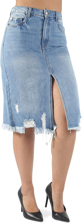 Fashion2Love Women's Juniors Knee Length Ripped Distressed Denim Skirt