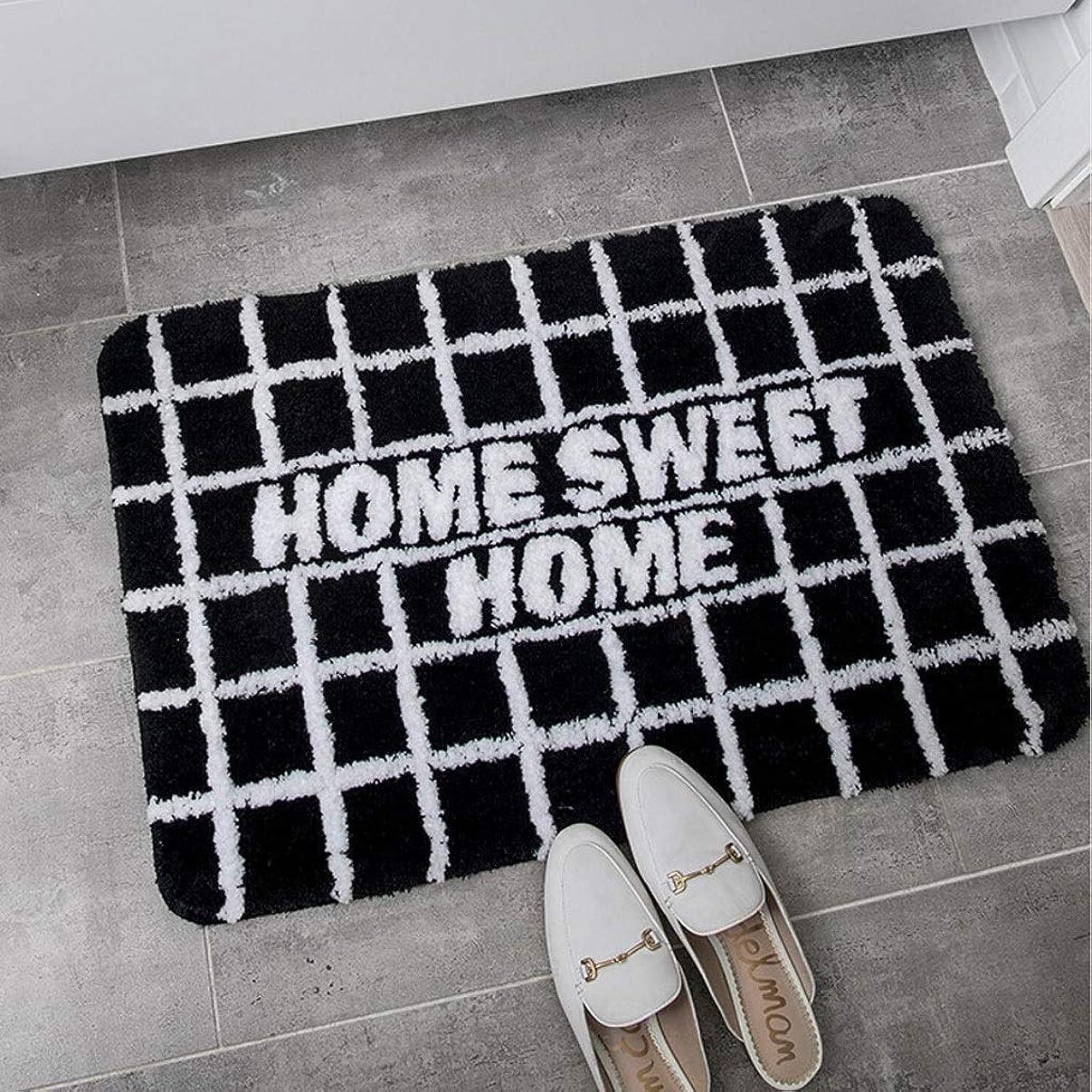 残りロゴ祖母黒とグレーのバスマットノンスリップシャギーとソフト吸収長方形ボーダーバスラグフロアパッド洗えるバスルームベッドルームカーペットに最適 (Color : ブラック, Size : 50×80cm)