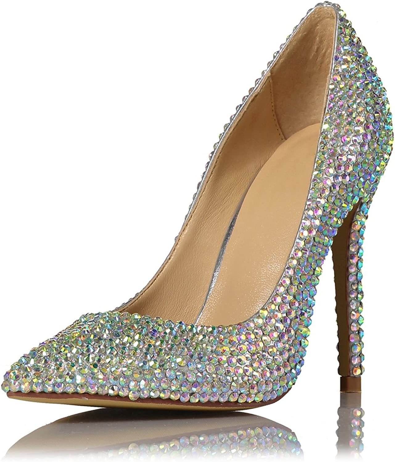 Miyoopark LS0652 Women's Sparkle Multicolor Crystals Studded Evening Wedding Pumps