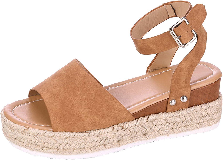 Eduavar Sandals for Women Wedge,Womens 2021 Fashion Ankle Strap Platform Sandals Summer Beach Shoes Open Toe Espadrilles
