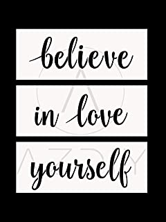 3 PCS Believe, in Love, Yourself Stencils AZDIY Reusable Stencil Set- Word Stencils for Painting on Wood– Laser Cut Painting Stencil Home Décor & DIY Believe in Yourself Love Yourself Believe in Love