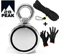 28 Peak Magnet Fishing Kit, 660 lb Double Sided Pulling Force, with Non Slip Gloves, 65 Ft Rope & Carabiner for Magnet Fishing and Retrieving in River