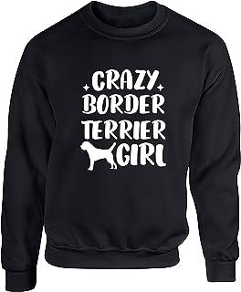 Hippowarehouse Crazy Border Terrier Girl - Dog Unisex Jumper Sweatshirt Pullover (Specific Size Guide in Description)