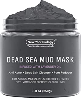 New York Biology Dead Sea Mud Mask Infused with Lavender - All Natural - Spa Quality Pore Reducer to Help with Acne, Blackheads and Oily Skin Tightens Skin for A Healthier Complexion - 8.8 oz