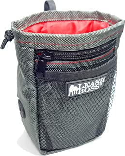 Leashboss Dog Treat Pouch for Training with Poop Bag Dispenser, Waist Attachment or Belt Loop (Grey/Red/Black, Standard)