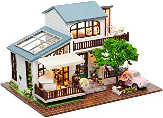 Rylai 3D Puzzles Miniature Dollhouse DIY Kit w/ Light -London Holiday Series Dolls Houses Accessories with Furniture LED Music Box Best Birthday Gift for Women and Girls