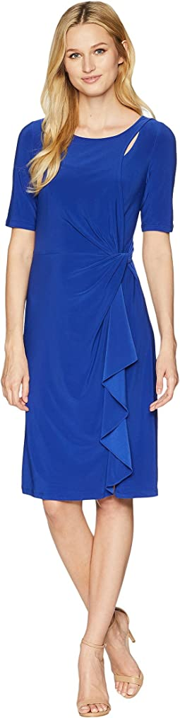 Matte Jersey Draped Sheath Dress