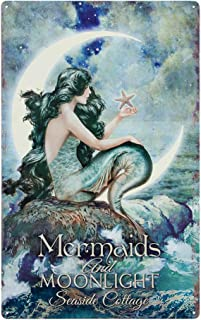 Mermaids & Moonlight Tin Advertising Sign   Mermaid Home Decor Bathroom Wall Art   Beautiful Vibrant Colors   16 x 10 Inch