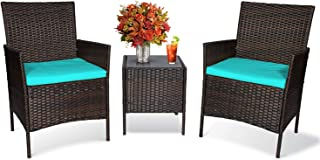 Sponsored Ad - John's 3-Piece Rattan Patio Furniture Set with Weather Resistant Cushions and Tempered Glass, Outdoor Garde...