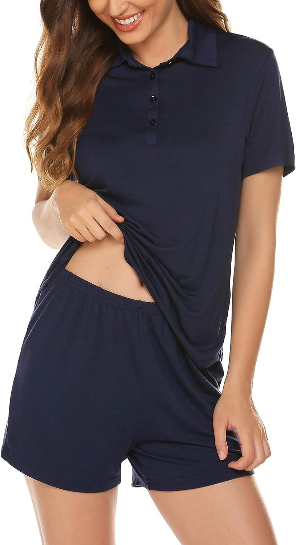 Ekouaer Women's Polo Pajamas Sets Cotton Sleepwear Button Down Shirt and Shorts Pjs Set