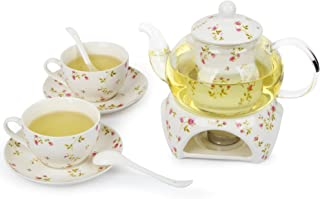 Kendal Tea Pot with Cups and Saucer for Adults, 2 Cups Porcelain Tea Set with Teapot and Warmer QCMG