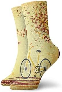 BEDKKJY, Calcetines de Equipo Árbol de otoño con Bicicleta Inspiración para Mujeres Calcetines de Fiesta Deportiva Calcetines para niños