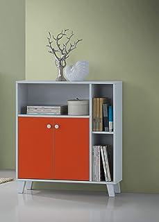 Maison Concept Wooden Shelves, White/Orange, H35 x W11.7 x D31.4 inches