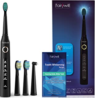 Sonic Electric Toothbrush Rechargeable for Adults - Clean as Dentist with 28 3D Teeth Whitening Strips Pack Gentle and Safe for Enamel, 4 Hours Charge Minimum 30 Days Use 5 Optional Modes Smart Timer