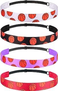 4 Pieces Girls Non-slip Basketball Headband Adjustable Basketball Hairband Girls Sports Hair Accessories (Black, Purple, Red, White)