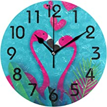 Naanle Stylish Exotic Flamingo Couple in Tropical Jungle Pattern Round Wall Clock, 9.5 Inch Battery Operated Quartz Analog Quiet Desk Clock for Home,Office,School