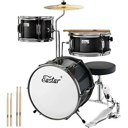 Eastar Drum Set for Kids Age 5-7,3 Piece Junior Drum Set with Bass Tom Snare Drum, Drum Kit for Beginners,with Adjustable Throne, Cymbal, Pedal & Two Pairs of Drumsticks,14 inch Metallic Black