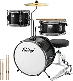 Eastar 14 inch Kids Drum Set Real 3 Pieces with Throne, Cymbal, Pedal & Drumsticks,Metallic Black (EDS-180B)