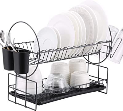 2 Tier Dish Drying Rack, Kitchen Organizer with Drainboard/Cutlery Cup (Gray)